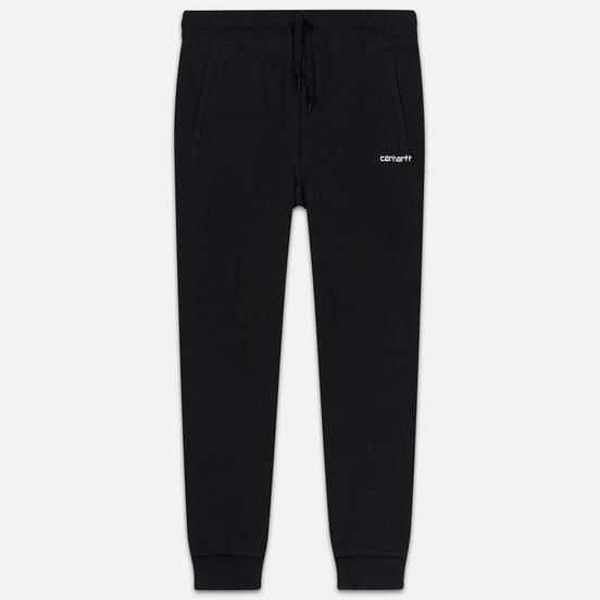Женские брюки Carhartt WIP W' Script Embroidery 9.1 Oz Black/White