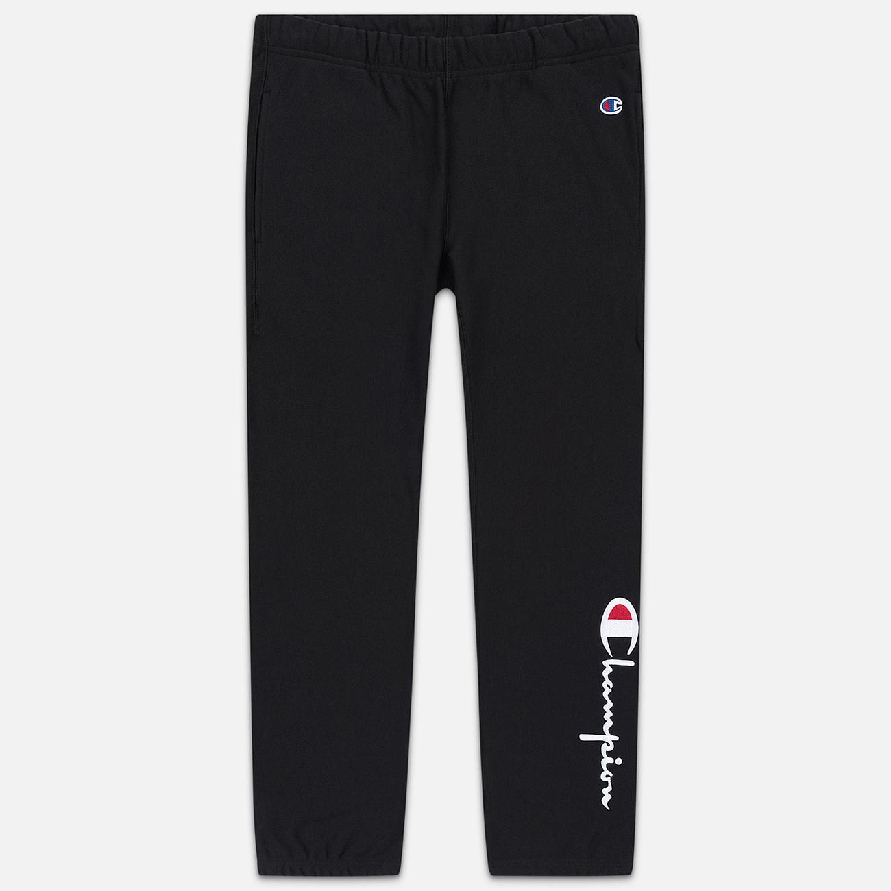 Женские брюки Champion Reverse Weave Big Script Elastic Cuff Black