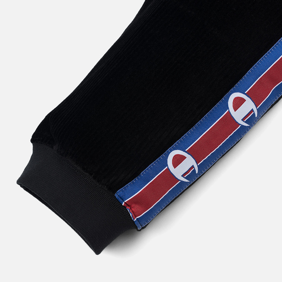 Женские брюки Champion Reverse Weave Logo Tape Rib Cuff Black