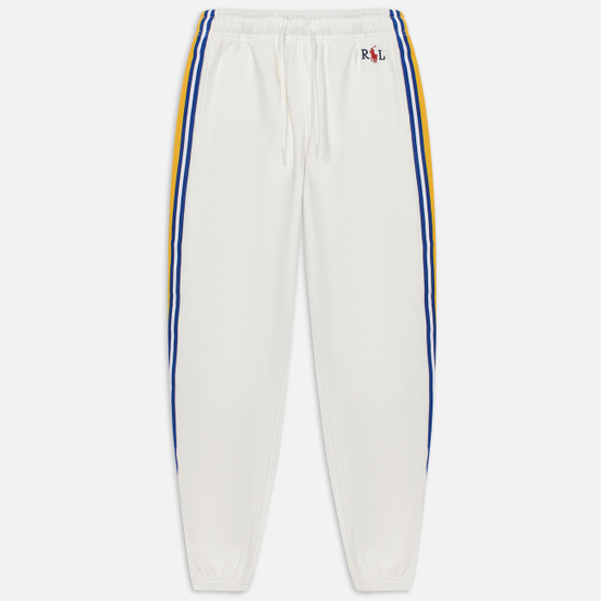 Женские брюки Polo Ralph Lauren Bold Stripes Lightweight Seasonal Fleece Ankle Deckwash White