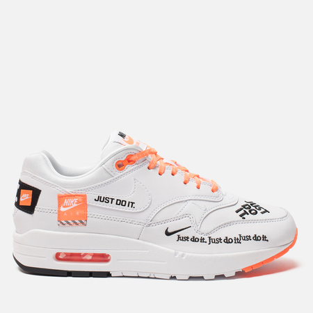 Женские кросовки Nike Air Max 1 Lux Just Do It White/Black/Total Orange