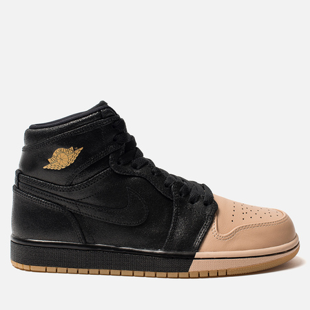 fa67ecd1 Jordan Женские кроссовки Air Jordan 1 Retro High Premium Black/Metallic Gold/Vachetta  Tan