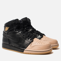 Женские кроссовки Jordan Air Jordan 1 Retro High Premium Black/Metallic Gold/Vachetta Tan