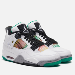 Женские кроссовки Jordan Air Jordan 4 Retro White/Black/University Red/Lucid Green