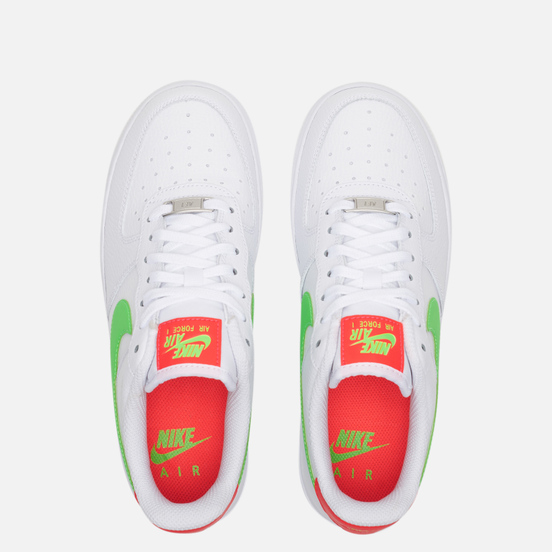 Женские кроссовки Nike Air Force 1 '07 White/Laser Crimson/Green Strike