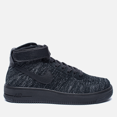 Женские кроссовки Nike Air Force 1 Flyknit Black/Black/White
