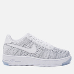 Женские кроссовки Nike Air Force 1 Flyknit Low White/White/Black фото- 0