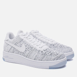 Женские кроссовки Nike Air Force 1 Flyknit Low White/White/Black фото- 2