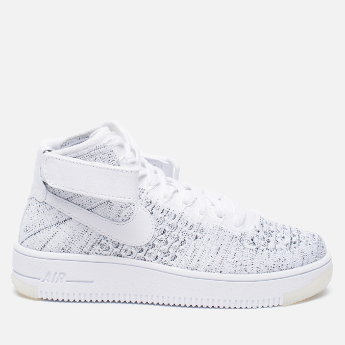 Женские кроссовки Nike Air Force 1 Flyknit White/White/Black