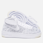 Женские кроссовки Nike Air Force 1 Flyknit White/White/Black фото- 2