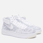 Женские кроссовки Nike Air Force 1 Flyknit White/White/Black фото- 1