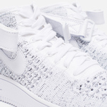 Женские кроссовки Nike Air Force 1 Flyknit White/White/Black фото- 6