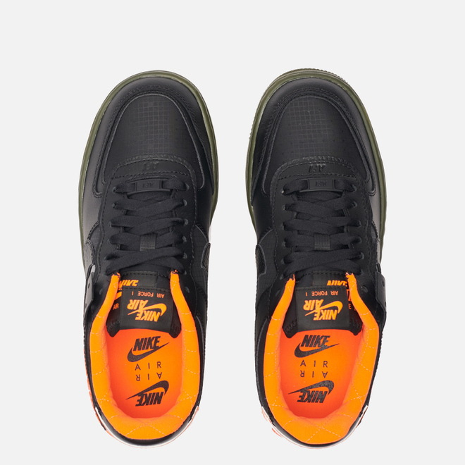 Женские кроссовки Nike Air Force 1 Shadow SE Black/Black/Hyper Crimson/Cargo Khaki