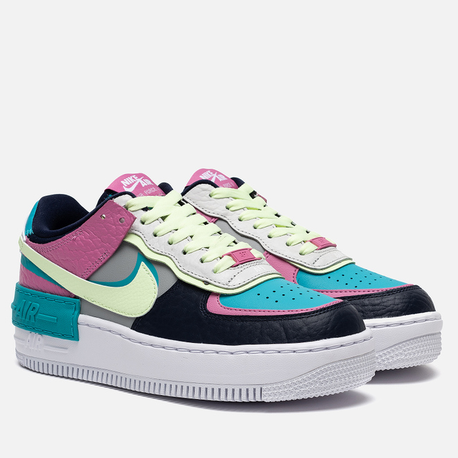 Женские кроссовки Nike Air Force 1 Shadow SE Light Smoke Grey/Barely Volt/Oracle Aqua