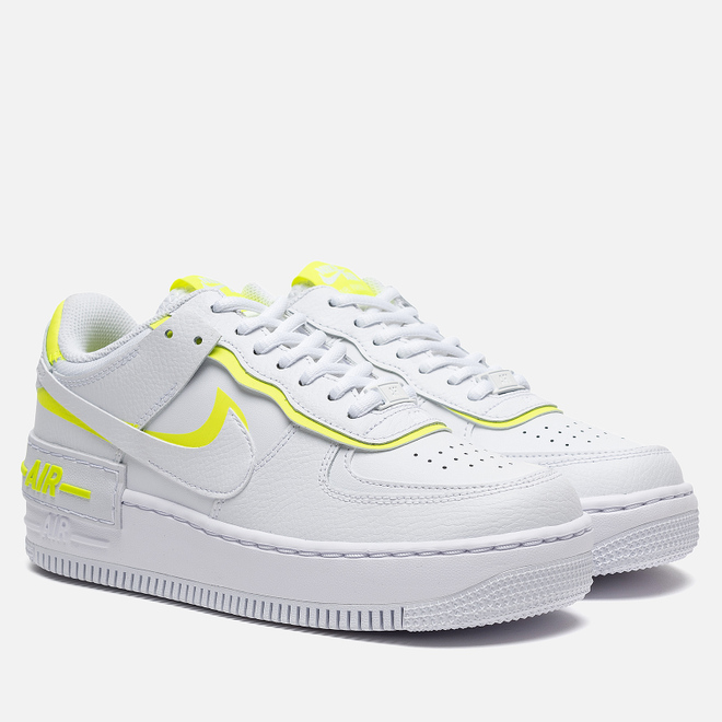 Женские кроссовки Nike Air Force 1 Shadow White/White/Lemon Venom