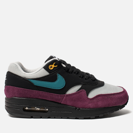 Женские кроссовки Nike Air Max 1 Black/Geode Teal/Light Silver/Bordeaux