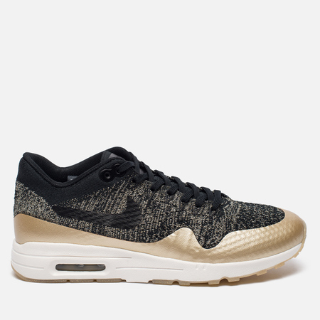 Женские кроссовки Nike Air Max 1 Ultra 2.0 Flyknit Metallic Black/Black/Metallic Gold Star