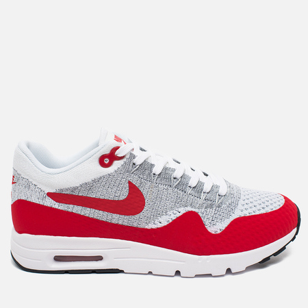 Женские кроссовки Nike Air Max 1 Ultra Flyknit White/University Red/Pure Platinum