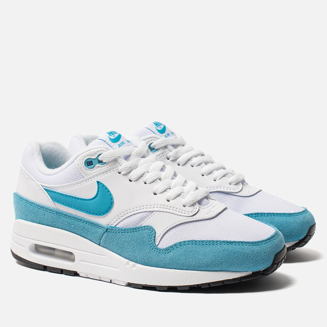 Женские кроссовки Nike Air Max 1 White/Light Blue Fury/Black