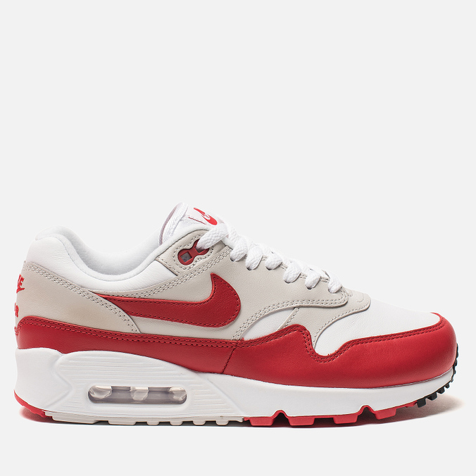 Женские кроссовки Nike Air Max 90/1 White/University Red/Neutral Grey/Black