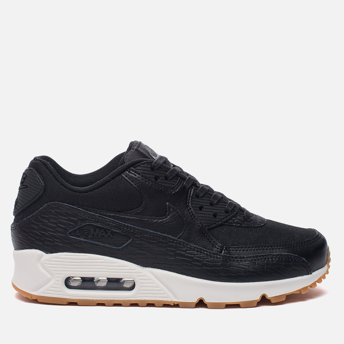 Женские кроссовки Nike Air Max 90 Premium Leather Black/Black/Dark Grey/Ivory