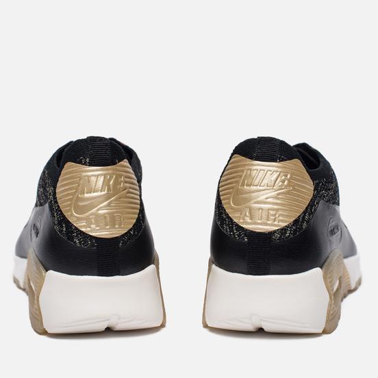 Женские кроссовки Nike Air Max 90 Ultra 2.0 Flyknit Metallic Black/Black