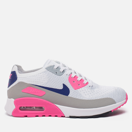 Женские кроссовки Nike Air Max 90 Ultra 2.0 Flyknit White/Concord/Laser Pink/Black