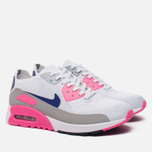 Женские кроссовки Nike Air Max 90 Ultra 2.0 Flyknit White/Concord/Laser Pink/Black фото- 2