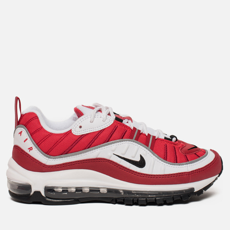 Женские кроссовки Nike Air Max 98 White/Black/Gym Red/Reflect Silver