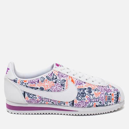 Nike Cortez Classic Print Women's Sneakers White/Dark Purple Dust/Total Crimson
