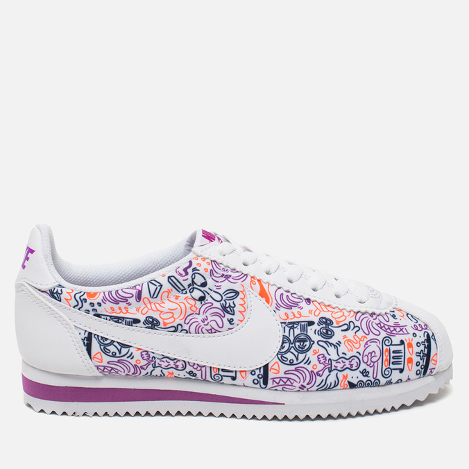 Женские кроссовки Nike Cortez Classic Print White/Dark Purple Dust/Total Crimson