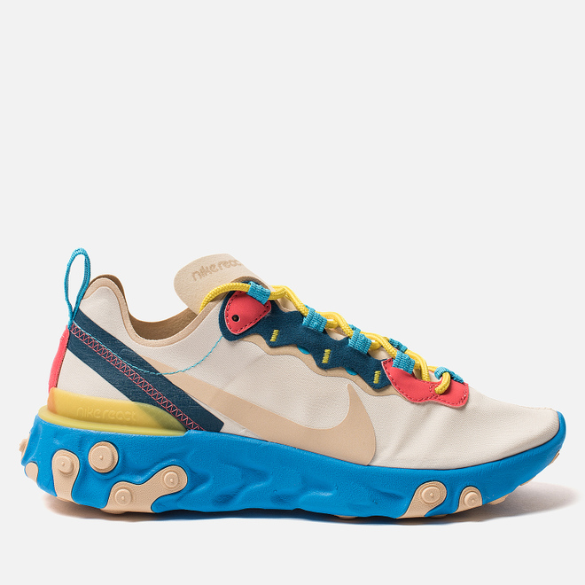 Женские кроссовки Nike React Element 55 Light Cream/Desert Ore/Light Blue Fury