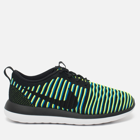 Женские кроссовки Nike Roshe Two Flyknit Black/Photo Blue/Volt
