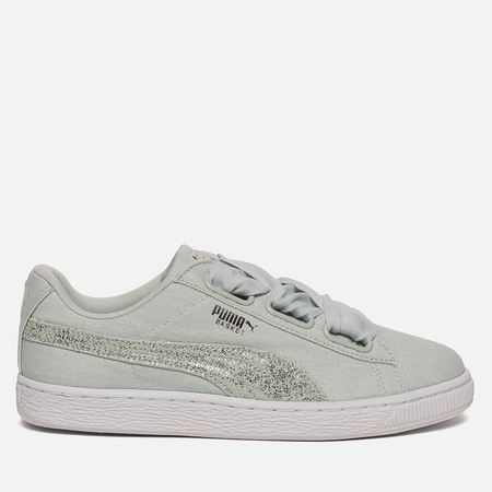 Женские кроссовки Puma Basket Heart Canvas Blue Flower/White/Silver