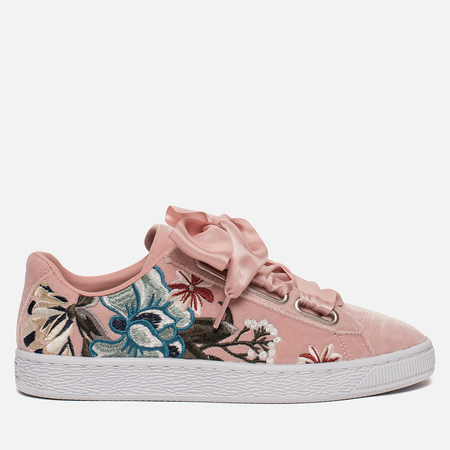 Женские кроссовки Puma Basket Heart Hyper Embroidery Peach Beige