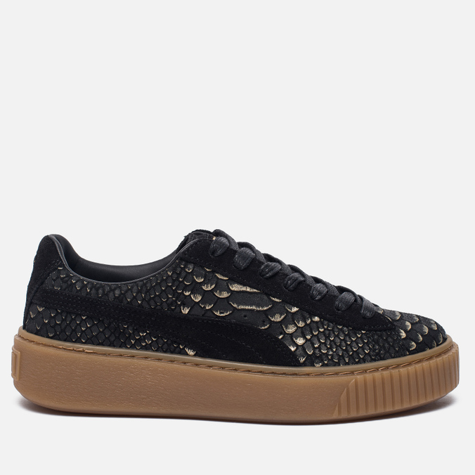 Женские кроссовки Puma Basket Platform Exotic Skin Black/Gold