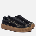 Женские кроссовки Puma Basket Platform Exotic Skin Black/Gold фото- 2