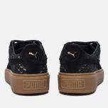 Женские кроссовки Puma Basket Platform Exotic Skin Black/Gold фото- 3