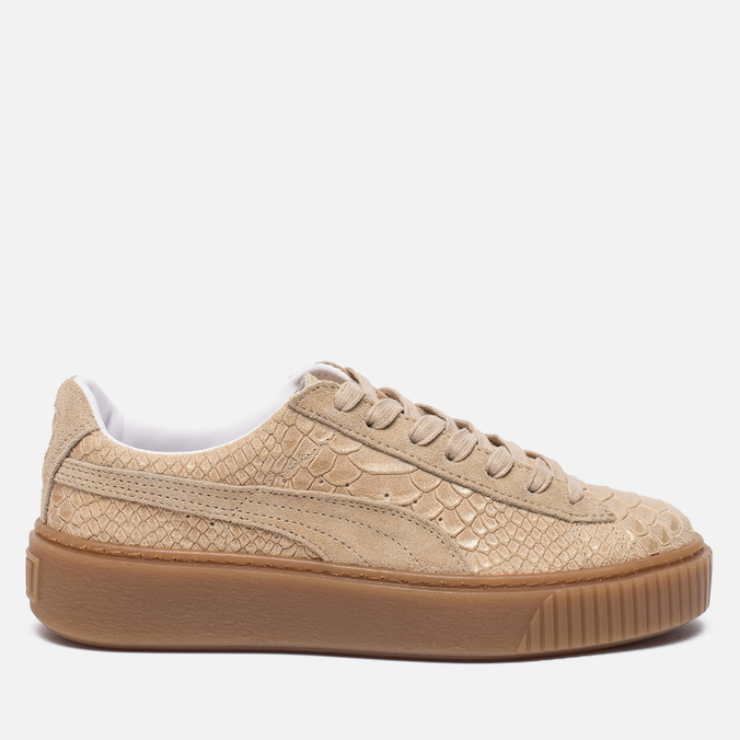Женские кроссовки Puma Basket Platform Exotic Skin Natural Vachetta/Gold