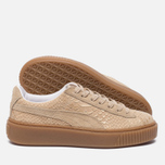 Женские кроссовки Puma Basket Platform Exotic Skin Natural Vachetta/Gold фото- 1