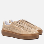 Женские кроссовки Puma Basket Platform Exotic Skin Natural Vachetta/Gold фото- 2