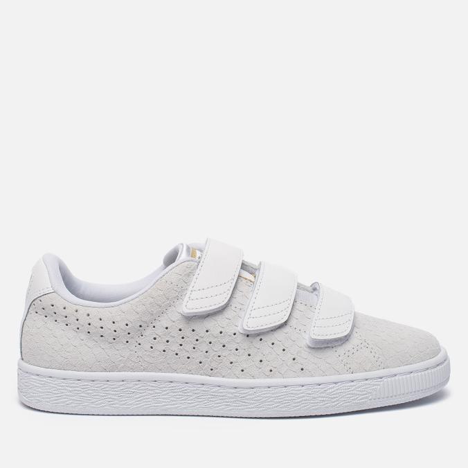 Женские кроссовки Puma Basket Strap Exotic Skin White/White