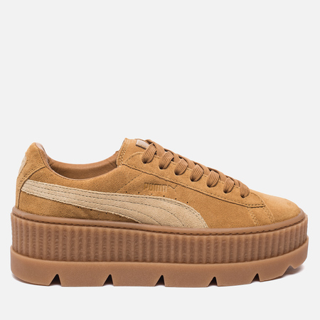 Женские кроссовки Puma x Rihanna Fenty Cleated Creeper Suede Golden Brown/Lark