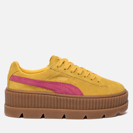 Женские кроссовки Puma x Rihanna Fenty Cleated Creeper Suede Lemon/Carmine Rose/Vanilla Ice