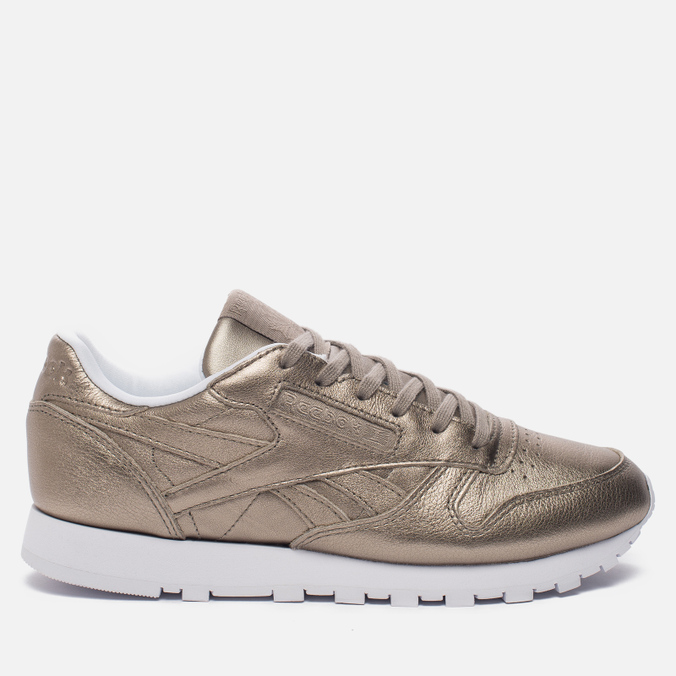 Женские кроссовки Reebok Classic Leather Lux Pearl Met-Grey Gold/White