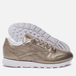 Женские кроссовки Reebok Classic Leather Lux Pearl Met-Grey Gold/White фото- 2