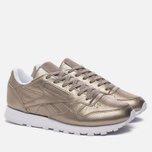Женские кроссовки Reebok Classic Leather Lux Pearl Met-Grey Gold/White фото- 1