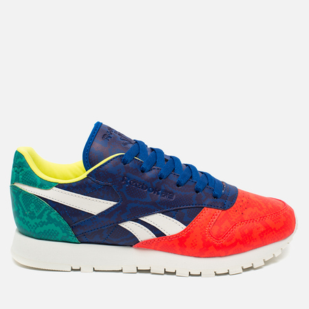 Женские кроссовки Reebok Classic Leather Snake Red/Royal/Green/White