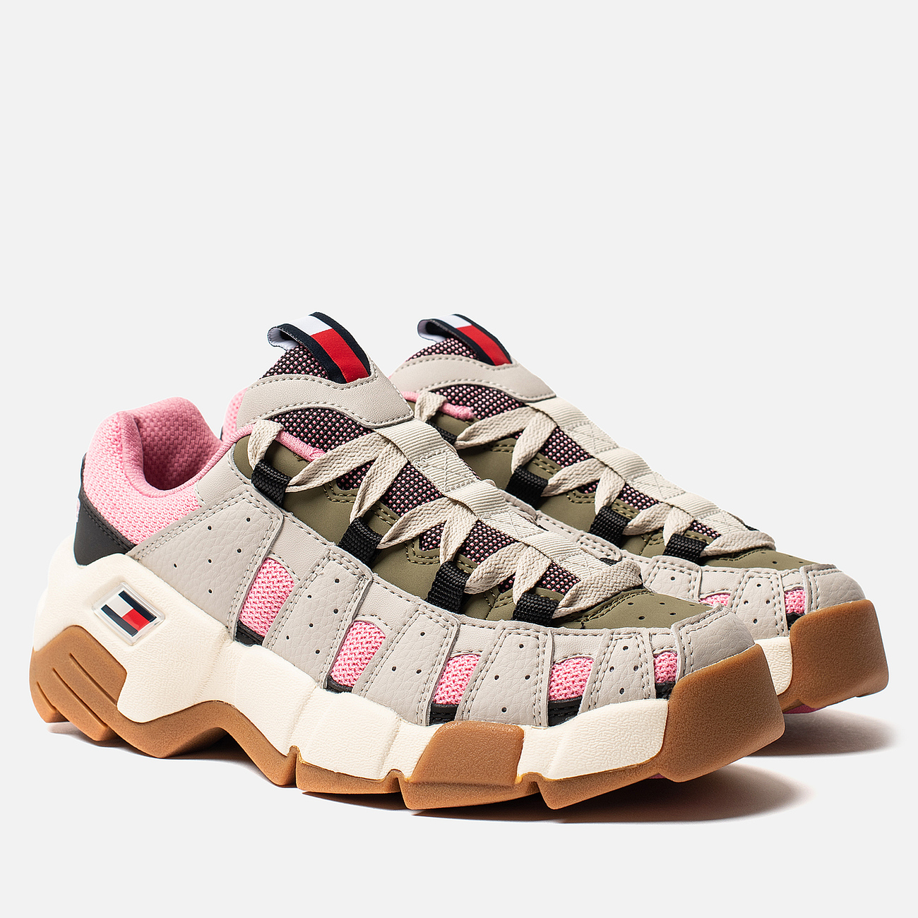 Женские кроссовки Tommy Jeans Heritage Chunky Trainers Pumice Stone/Sea Pink/Martini Olive