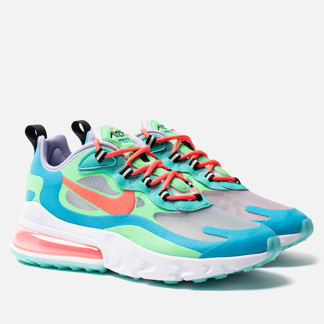 Женские кроссовки Nike Air Max 270 React Electro Green/Flash Crimson/Blue Lagoon